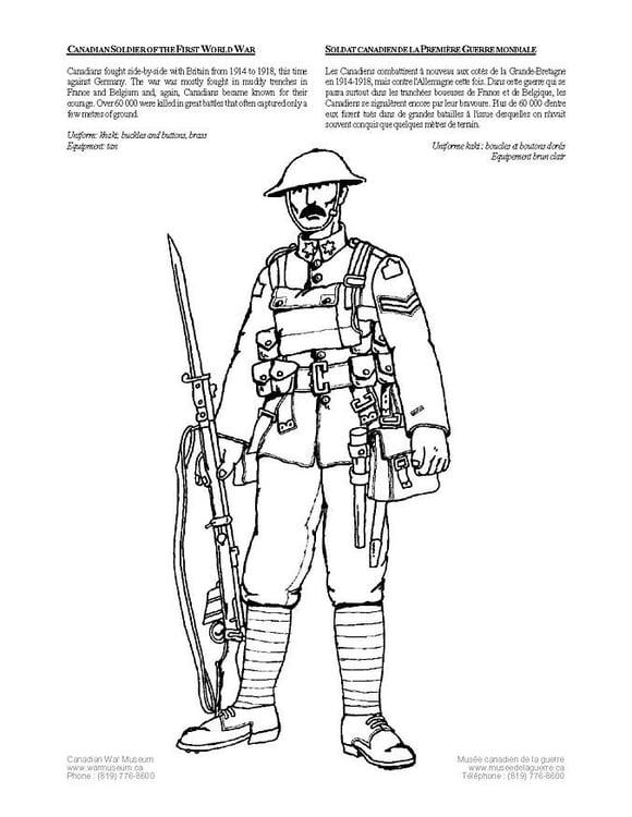 Dibujo para colorear Soldado de la primera guerra mundial  Img 4262