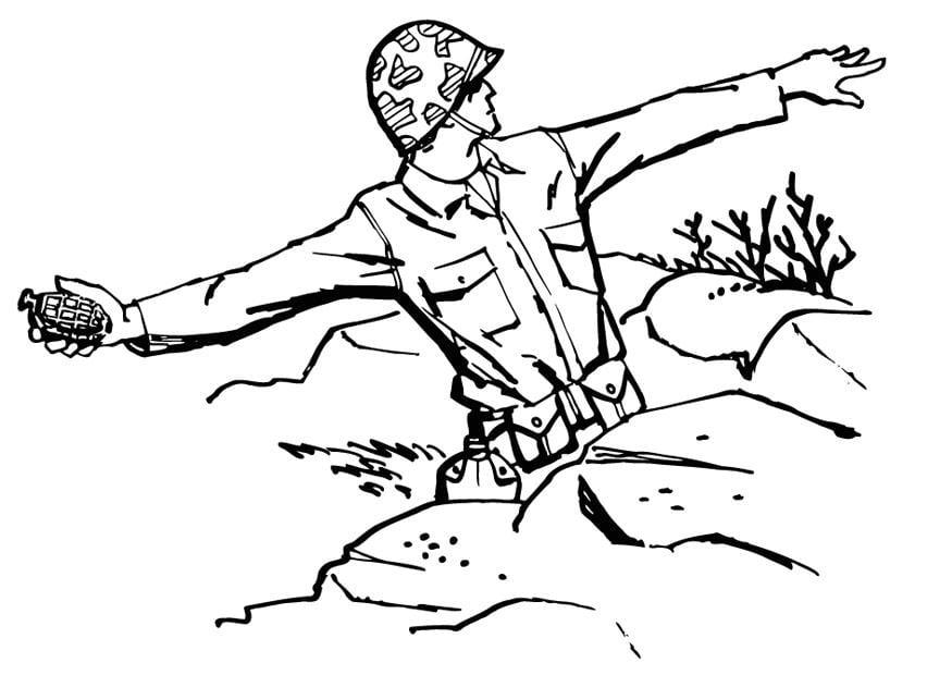 Dibujo para colorear Soldado tira granada - Dibujos Para ...
