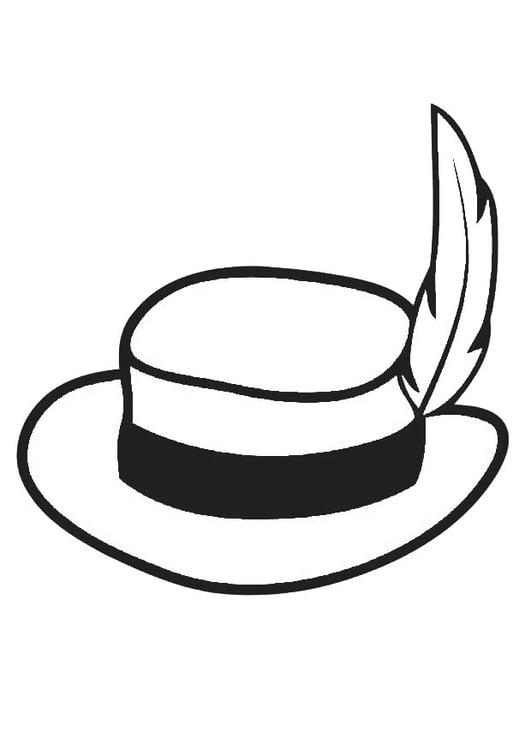 Dibujo para colorear sombrero con pluma - Img 19350