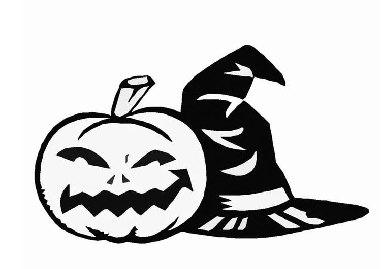 Dibujo para colorear Sombrero de bruja y calabaza - Img 8585