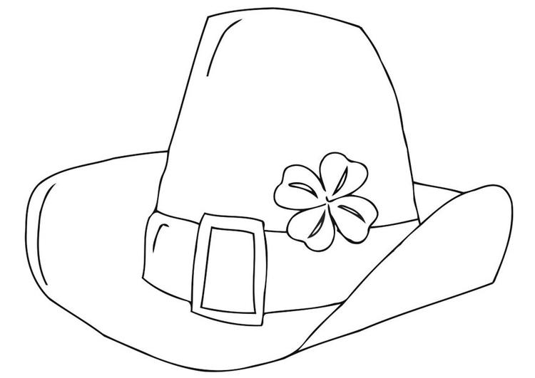 Dibujo para colorear sombrero del Día de San Patricio - Img 21707