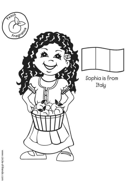 Dibujo para colorear Sophia de Italia con bandera - Img 5646