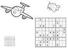 Dibujo para colorear sudoku - aviones
