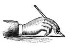 Dibujo para colorear sujetar un bolígrafo