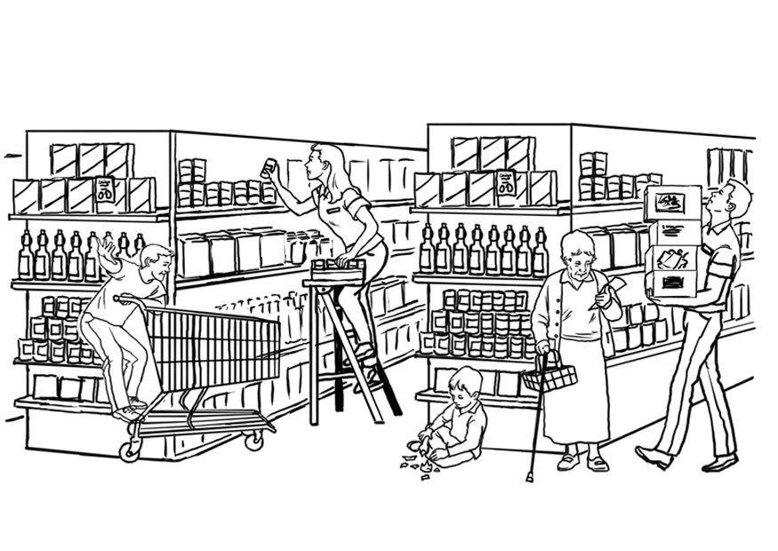 Supermarket Coloring Pages