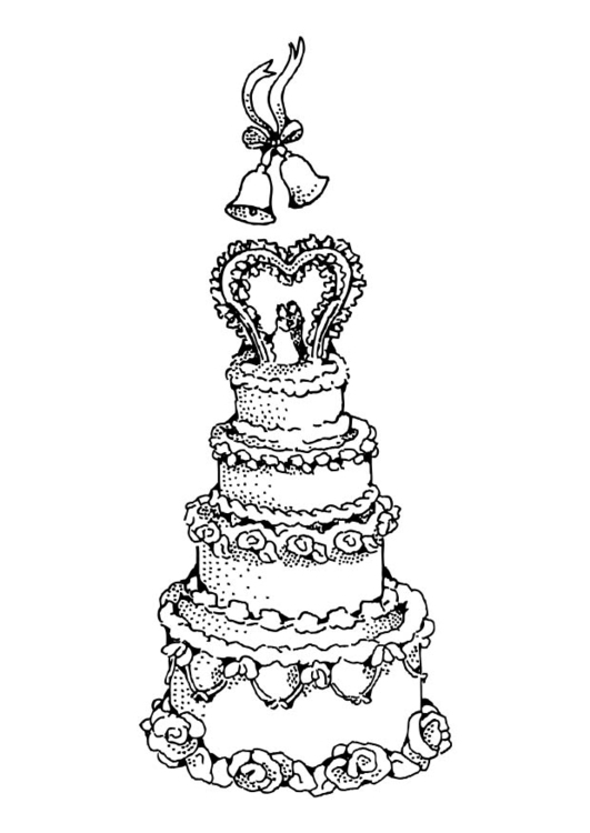 dibujo para colorear tarta de boda dibujos para imprimir