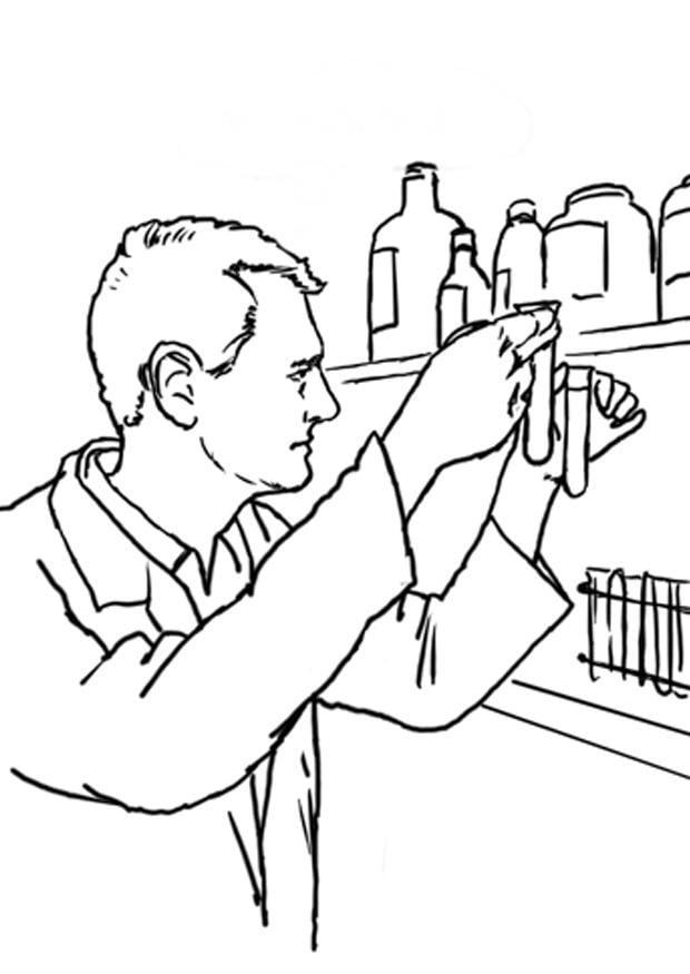 Dibujo Para Colorear Tecnico De Laboratorio Dibujos Para