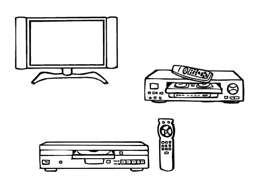 Dibujo Para Colorear Televisión- Vídeo- Dvd