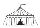 Dibujo para colorear tienda de circo