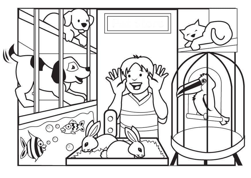 Dibujo Para Colorear Tienda De Mascotas Dibujos Para