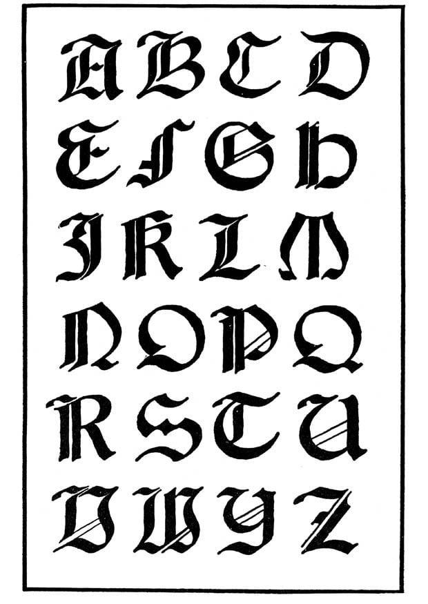 Dibujo para colorear Tipo de letra gótica italiana - Img 11229