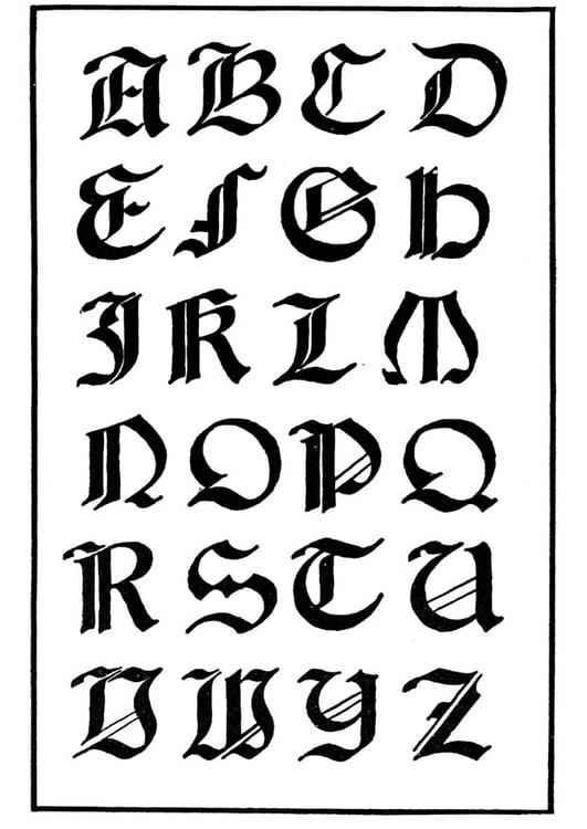 Dibujo Para Colorear Tipo De Letra Gótica Italiana Img 11229