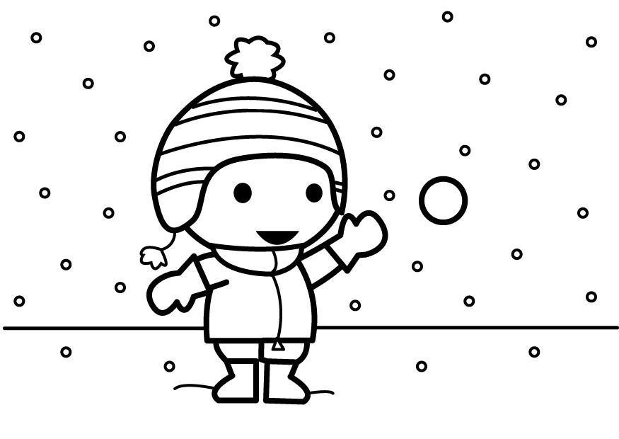 Dibujos Varios Para Colorear: Dibujo Para Colorear Tirar Bolas De Nieve