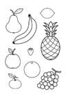 Dibujo para colorear toda la fruta