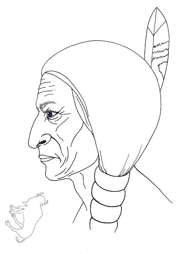 Dibujo para colorear toro sentado img 9914 - Fogli da colorare nativo americano ...