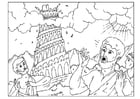 Dibujo para colorear torre de Babel