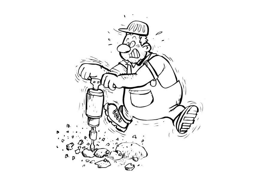 Dibujo para colorear Trabajador en la carretera - Img 10405
