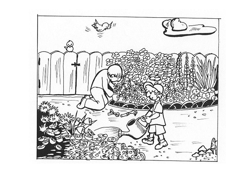Dibujo para colorear trabajando en el jard n img 9605 for Jardin dibujo