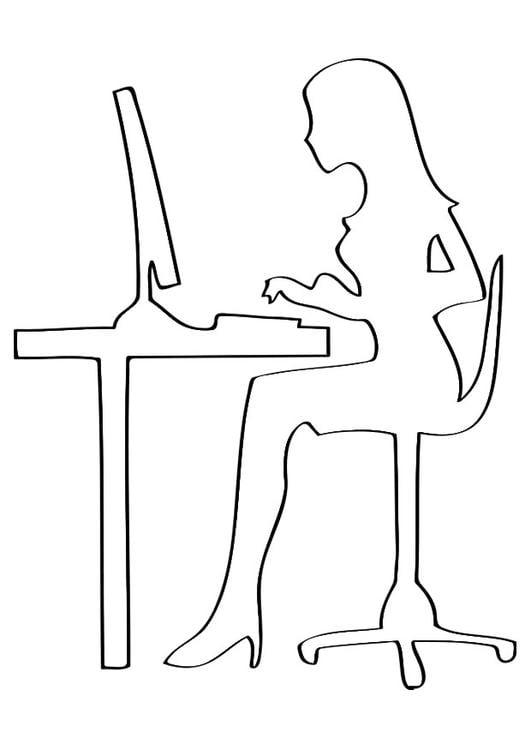Dibujo para colorear trabajo de oficina img 27874 for Imagenes de oficina de trabajo