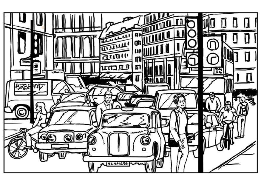 Dibujo Para Colorear Tráfico En La Ciudad Dibujos Para