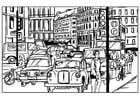 Dibujo para colorear Tráfico en la ciudad