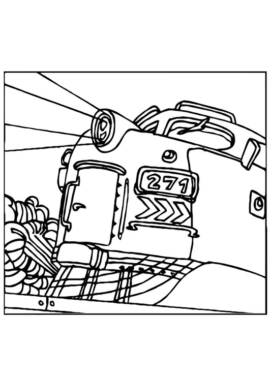 Dibujo para colorear Tren - locomotora - Img 10974