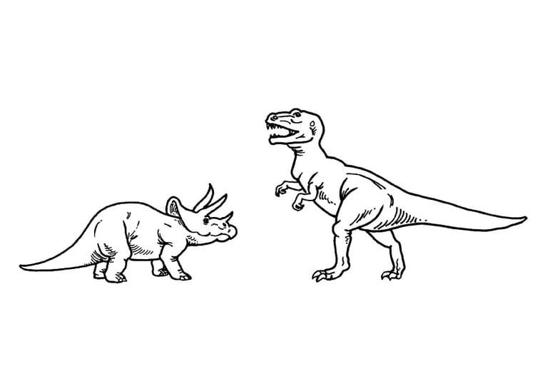 Dibujo Para Colorear Triceratops Y T Rex Img 9100