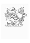 Dibujo para colorear Trineo con muñeco de nieve