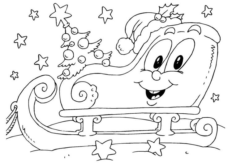 Dibujo para colorear trineo de Navidad - Img 23386