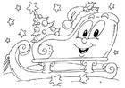 Dibujo para colorear trineo de Navidad