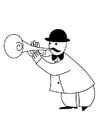 Dibujo para colorear trompetista