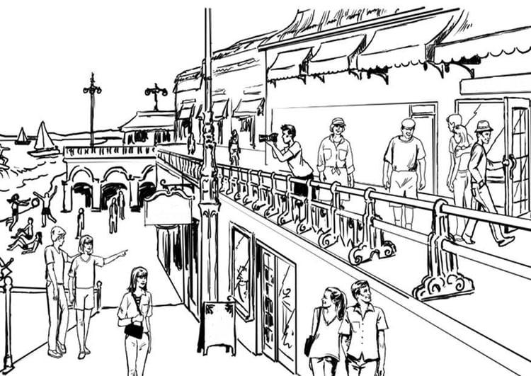 Dibujo Para Colorear Turismo En La Costa