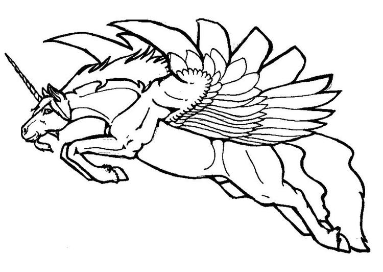 Encantador Unicornio Volador Para Colorear Elaboración - Ideas Para ...
