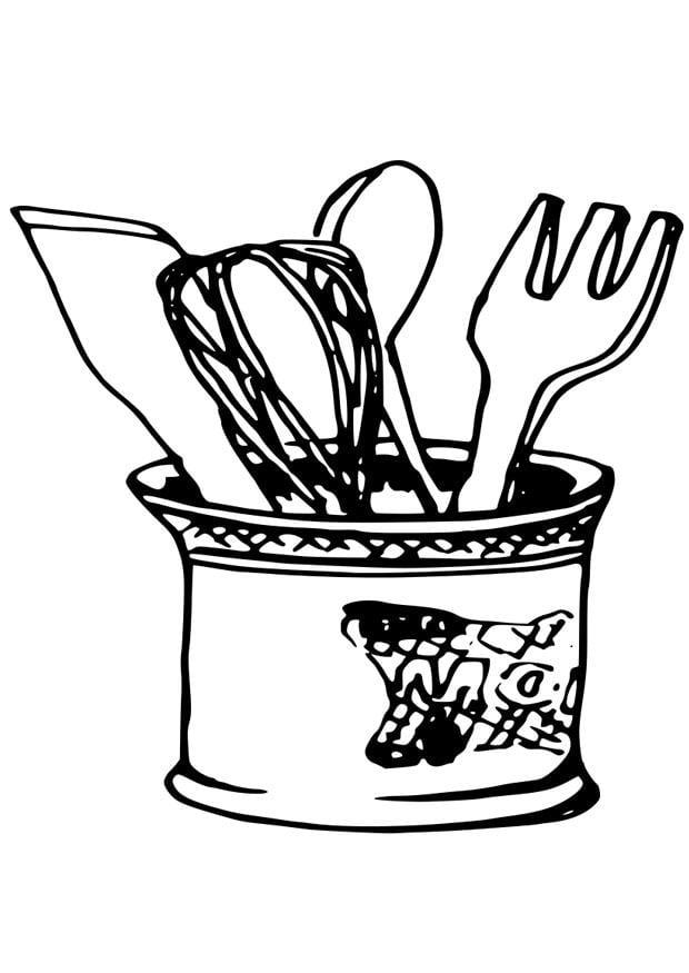 Dibujo para colorear utensilios de cocina - Dibujos Para ...