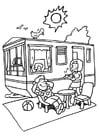Dibujo para colorear Vacaciones en el camping