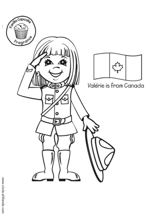 child around the world coloring pages | Dibujo para colorear Valerie con bandera canadiense ...
