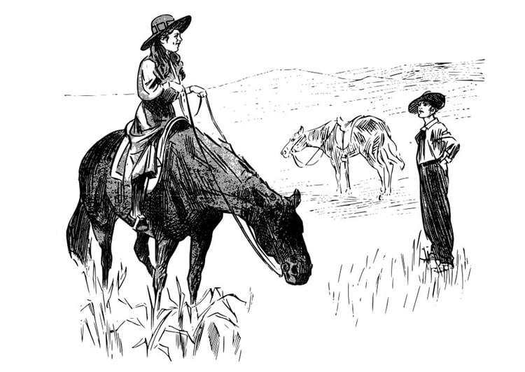 Dibujo para colorear vaquera - Img 26368