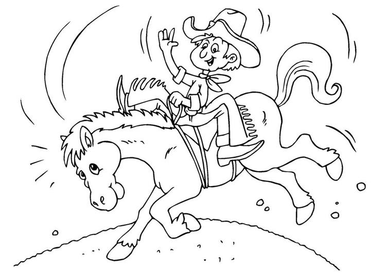 Dibujo Para Colorear Vaquero A Caballo Img 25972