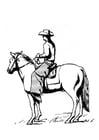 Dibujo para colorear vaquero a caballo