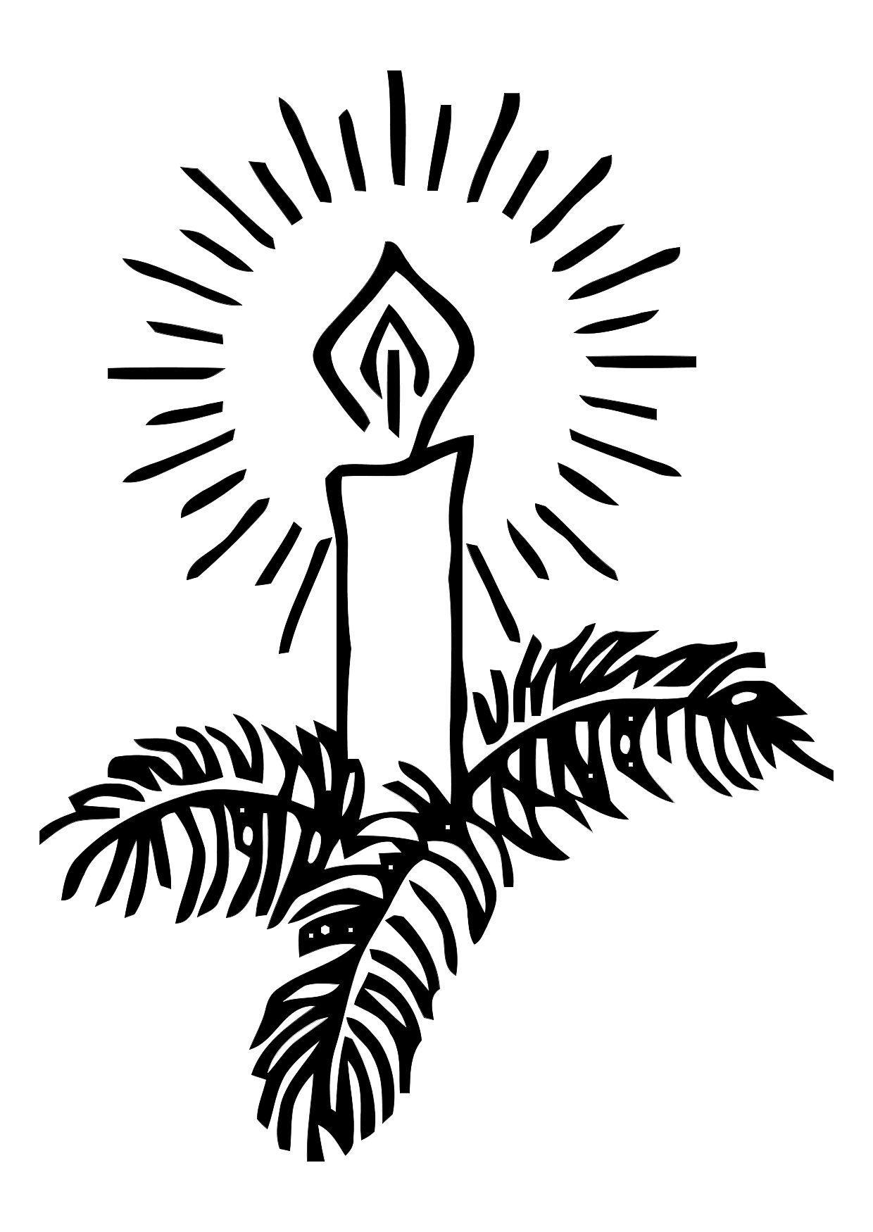 Dibujo para colorear Vela de navidad - Img 11335