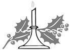 Dibujo para colorear vela de navidad