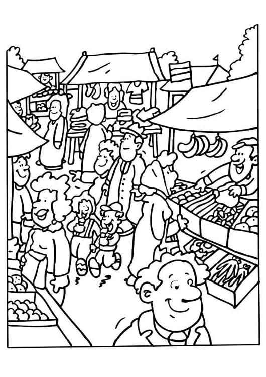 Dibujo para colorear Vendedor de mercado - Img 6523