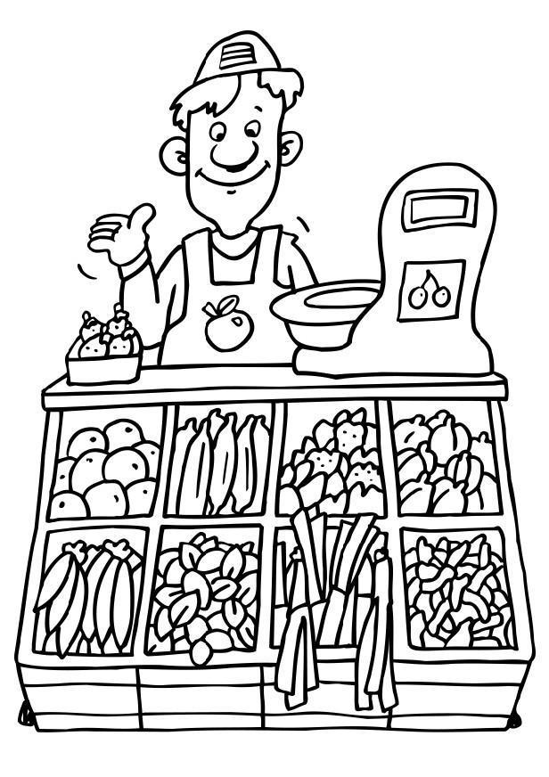 Dibujo para colorear Vendedor de verduras  Img 6501
