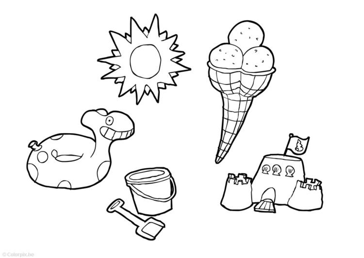 Dibujo para colorear verano - Img 14744