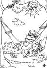 Dibujo para colorear Verano - en la hamaca
