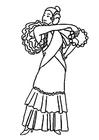 Dibujo para colorear vestido de flamenco