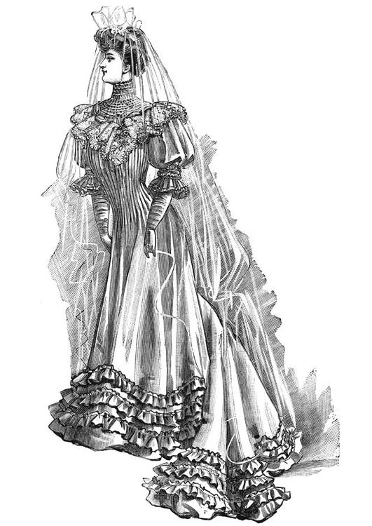 dibujo para colorear vestido de novia 1906 - img 18679