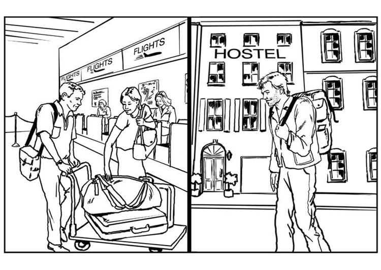 Imágenes Personas Viajando En Avion: Dibujo Para Colorear Viajar