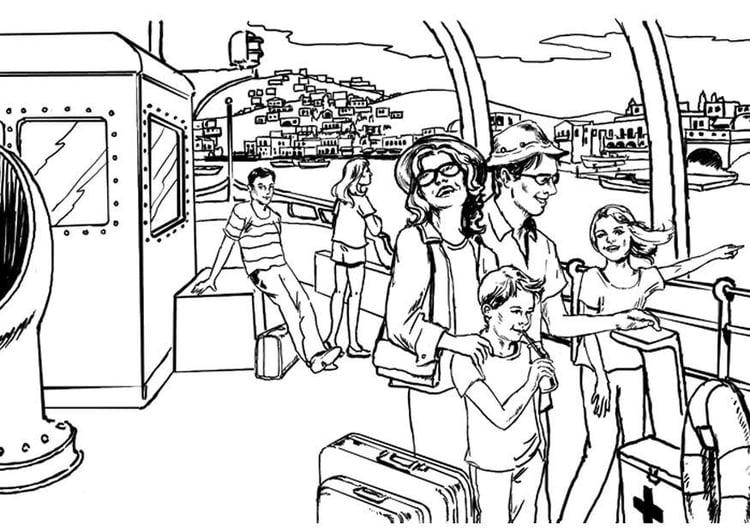 Dibujo Para Colorear Viaje En Barco Por El Rio Dibujos Para