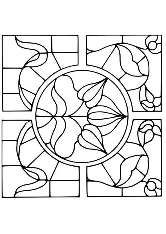 Dibujo para colorear vidrio con dibujo de flores img 18641 for Cenefas para dibujar